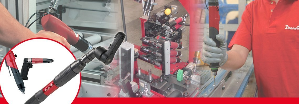 Expert in pneumatic fastening tools, discover Desoutter Indutrial Tools scewdrivers non shut off in line for automotive and aeronautics. Quality, productivity.